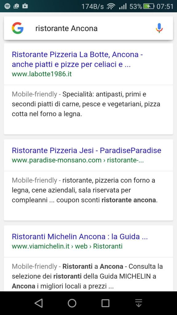 esempio ricerca google mobile frinedly